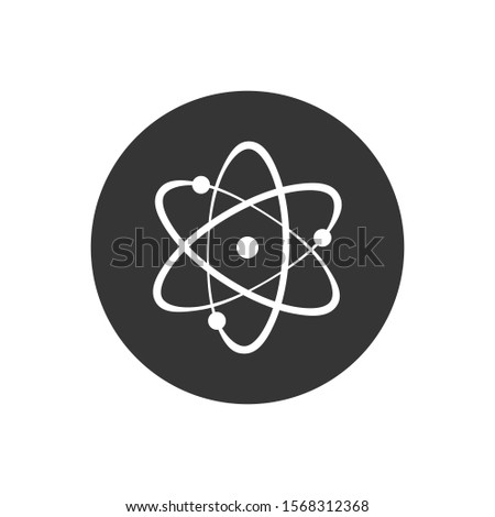Icon structure of the nucleus of the atom. Atom, protons, neutrons and electrons.  illustration