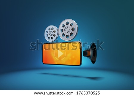 icon symbol movie camera used to film motion pictures with smartphone. Watching cinema or music entertainment media on smartphone with film strip. object and screen clipping path. 3D Illustration. stock photo