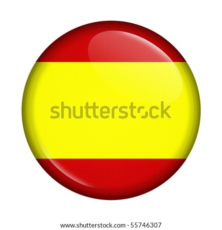 icon with flag of Spain isolated on white background