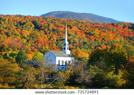 Iconic church in Stowe Vermont #735724891
