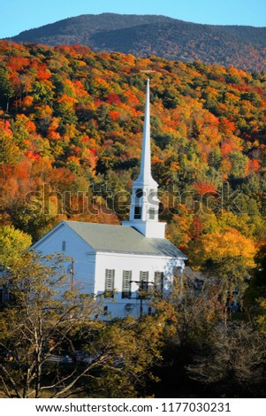 Iconic church in Stowe Vermont in autumn time #1177030231