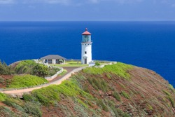 Iconic close up beautiful view of Kilauea Lighthouse with ocean and sky at the background, Island of Kauai, Hawaii