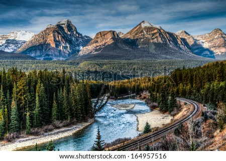 Iconic Morant's Curve, Banff National Park, Alberta Canada