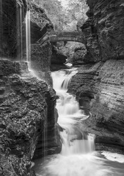 Iconic Rainbow Falls in Watkins Glen State Park, New York (Black and White)