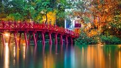 iconic red bridge in Hanoi, Vietnam