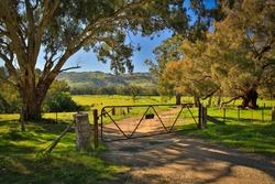 Iconic rural Australia - farm gate scene