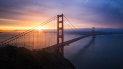 Iconic San Francisco Golden Gate Bridge at Sunrise, California, USA