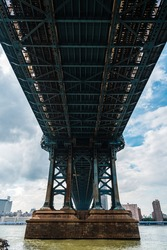 Iconic View Under Manhattan Bridge Against Cityscape of New York City. East River. Travel and Transportation Concepts