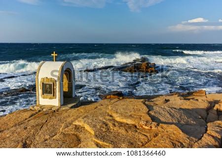 Iconostasis St. Peter and St. Nicholas at coastline of village of Chernomorets, Burgas Region, Bulgaria