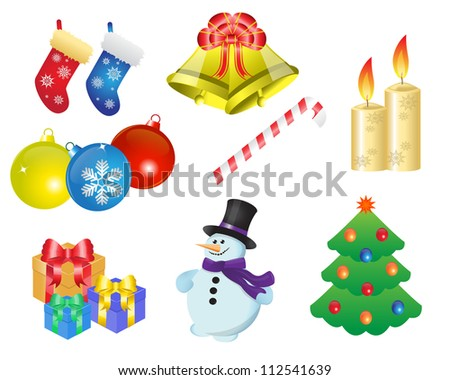 icons depicting various Christmas items and gifts