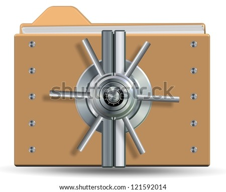 Icons for a computer folder with a vault lock on it / Protected folder and files