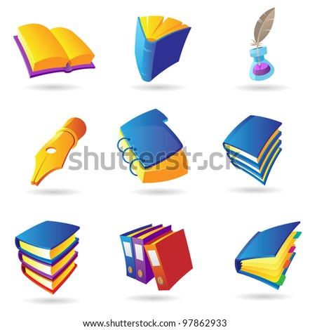 Icons for books and literature. Raster version. Vector version is also available.
