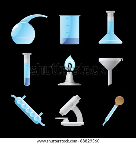 Icons for chemical lab. Raster version. Vector version is also available.