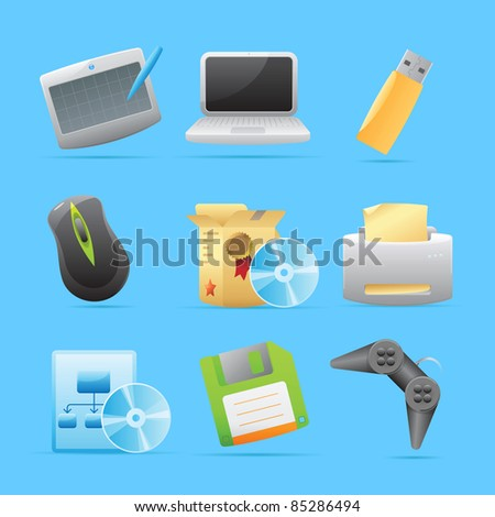 Icons for computer. Raster version. Vector version is also available. - stock photo