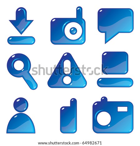 Icons for media content websites. Raster version. For vector version of this image, see my portfolio.