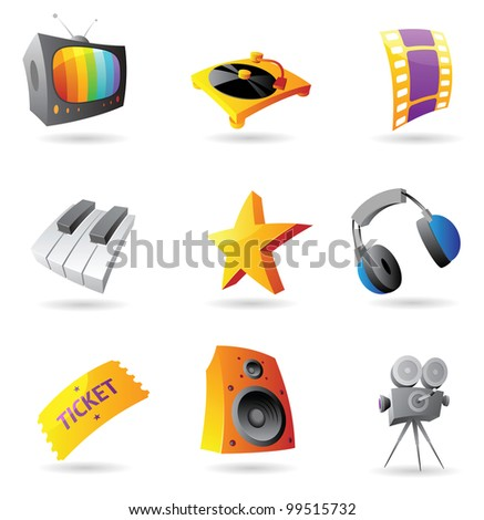 Icons for media. Raster version. Vector version is also available. - stock photo