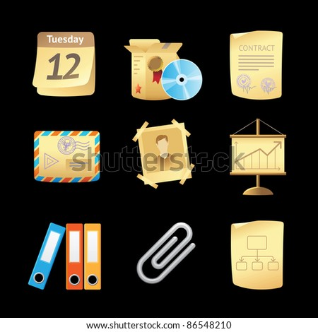 Icons for office and stationery. Raster version. Vector version is also available.