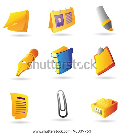 Icons for office items. Raster version. Vector version is also available.