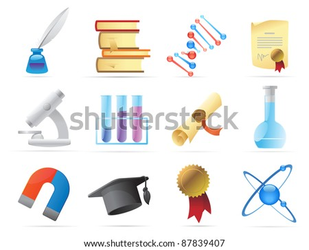 Icons for science and education. Raster version. Vector version is also available.