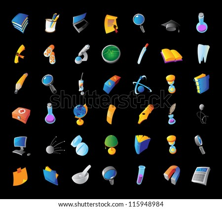 Icons for science, medicine and education. Black background. Raster version. Vector version is also available.