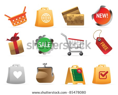 Icons for shopping. Raster version. Vector version is also available.