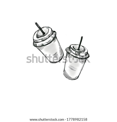 Icons for social networks of coffee shops or cafes. Set of images: coffee to go, cakes, desserts, food, a jug with a drink. Graphic arts. Imitation of watercolor and pencil.