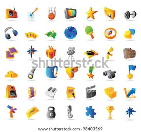 Icons for sport, travel, leisure and entertainment. Raster version. Vector version is also available.