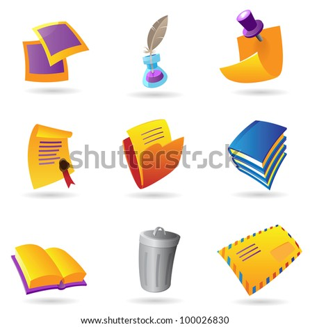 Icons for stationery. Raster version. Vector version is also available.