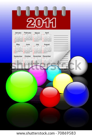 Icons of glass spheres and paper calendar 2011 with reflection.  The similar image in my portfolio in vector format.