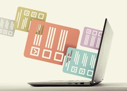 Icons of questionnaires stick out of a laptop screen. Concept of online testing, questionnaires, voting.