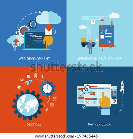 icons of web and application apps development concepts in flat style