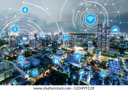icons of wifi, internet, communication, travel, computer and kinds of technology for smart city conceptual #520499128