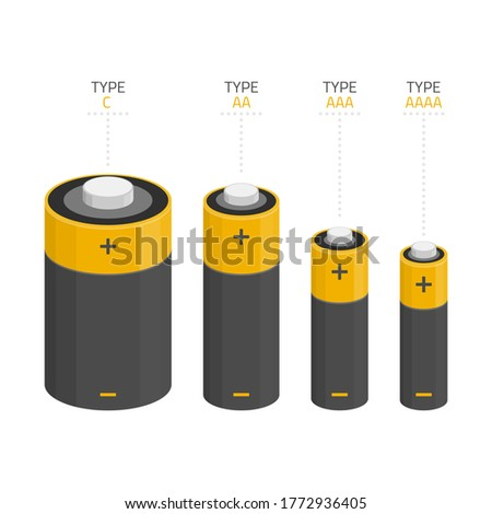 Icons set of different kinds of sizes of batteries C, AA, AAA, AAAA isolated on white background. Illustration in modern flat style.