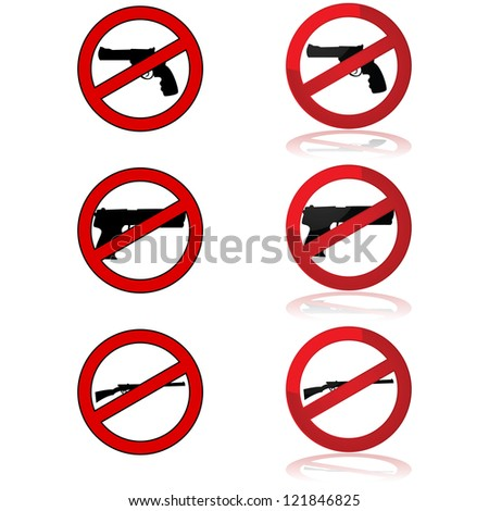 Icons showing different gun shapes and the forbidden sign