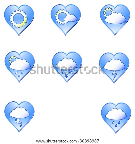 "Icons ""Weather in heart"". raster version"