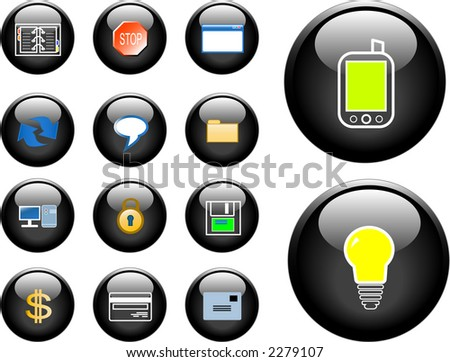 Icons with technology, finance and security theme.