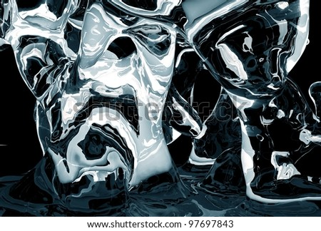 Icy Abstract - Abstract Dark Blue Icy Shapes. Cool Glassy-Ice Abstract Background