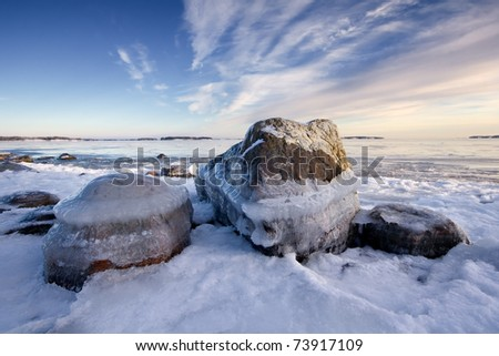 Icy beach in Helsinki, Finland.