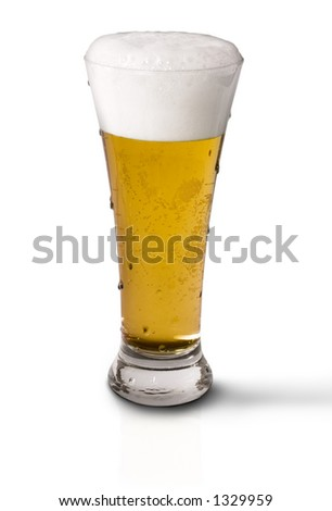 Icy cold frosty draft beer in glass
