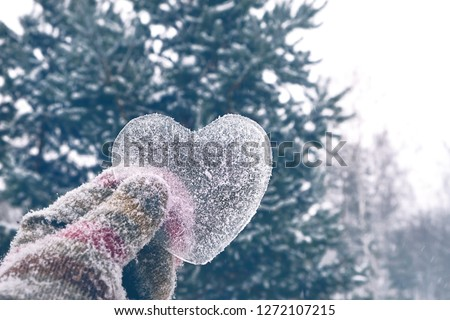 Photo of  icy heart in hand. concept of love, romantic, February 14, Valentine's day. winter season. Christmas and New Year holiday background. frozen heart
