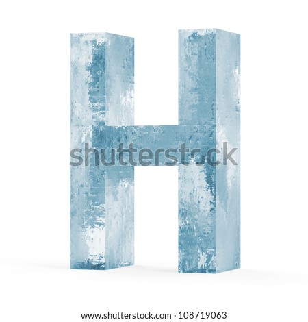 Icy Letters isolated on white background (Letter H) - stock photo