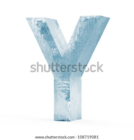 Icy Letters isolated on white background (Letter Y) - stock photo