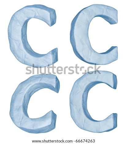 Icy letters. Letter C uppercase isolated on white.