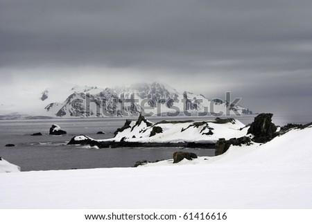 Icy Panoramic Landscape taken at Half Moon Island, Antarctica