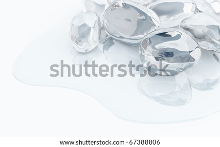 icy pieces with reflections in thawed blue water