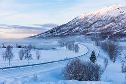 icy road in winter, Lofoten, Norway