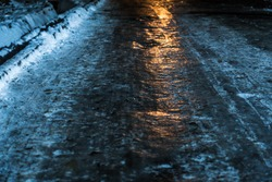 icy road night light winter