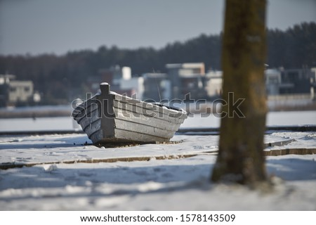 Photo of  Icy sail boat, Latvia, Boat at the winter coast