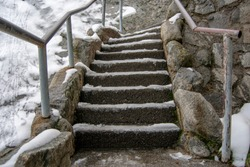 Icy Sequoia National Park stairs to Moro Rock.
