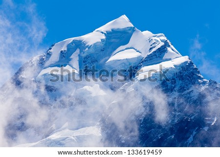 Icy summit top of iconic Aoraki Mount Cook highest peak of South Island  New Zealand
